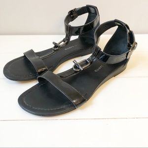 Franco Sarto Grafite Patent Leather Sandals -Black